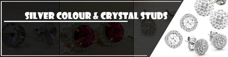Silver Colour & Crystal Studs