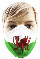 Adults Wales Flag Print Reusable Face Covering Mask