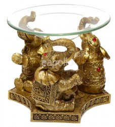 Lucky Elephant Gold Oil & Tart Burner With Glass Dish