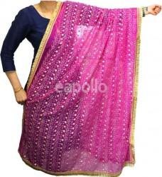 Wholesale Ladies Gota Patti Embroidery Ethnic Dupatta - Cerise Pink