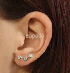 Wholesale Sterling Silver Pair Of Triple CZ Crawler Stud