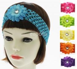 Crochet Flower Design Headbands Assorted Colours Uk Wholesaler