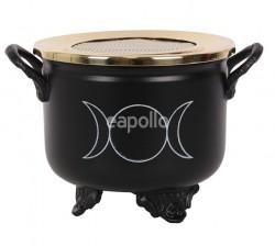 Triple Moon Cauldron Resin Incense Burner