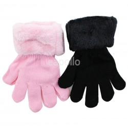 Children's Knitted Magic Gloves with Fur Cuff - Assorted Colours