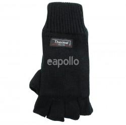 Unisex Knitted Thinsulated Gloves Fingerless Gloves - Black