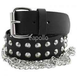 Leather 2 Row Conical Studded Belt With Chain Black (M) Wholesale