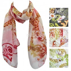 Ladies Floral and Chain Print Scarves - Assorted Colours