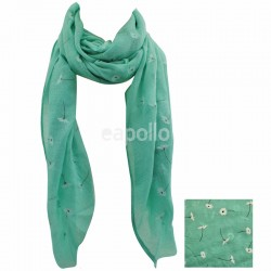 Ladies Daisy Design Scarves - Pale Green Wholesale