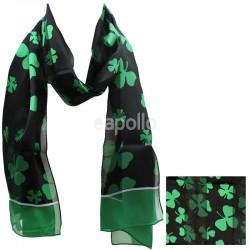 St. Patrick's Day Shamrock Design Satin Stripe Scarves - Black & Green