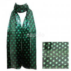 St. Patrick's Day Small Shamrock Design Satin Stripe Scarves - Black Wholesale