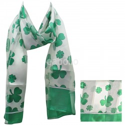St. Patrick's Day Shamrock Design Satin Stripe Scarves - White & Green