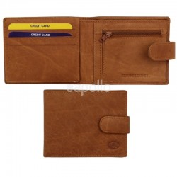 Men's Florentino Leather Wallet With Closure Button - Tan