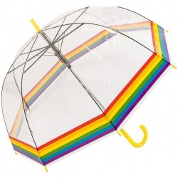 Wholesale Adult's Rainbow Border Clear Dome Umbrella