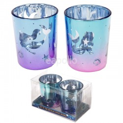 Wholesale Enchanted Seas Mermaid Set of 2 Glass Tea Light Votive Holders