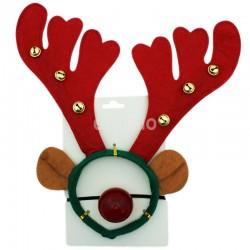 Christmas Reindeer Design Headband with Jingles & Nose Set - 33cm