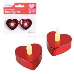 Wholesale Chrome Finish Heart Shaped Tea Lights