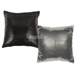 Colour Changing Sequin Cushion - Silver & Black