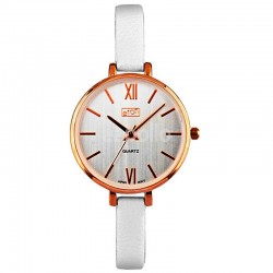 Wholesale Eton Ladies Faux Slim Strap Watch - White/R.Gold
