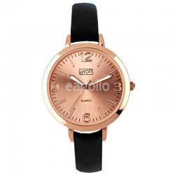 Wholesale Eton Ladies Faux Strap Watch - Black/Rose Gold