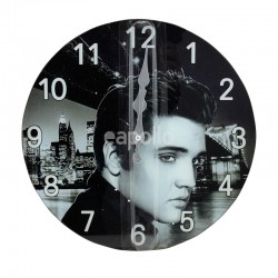 Glass Elvis Wall Clock - 30cm