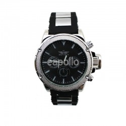 Wholesale Softech Mens 3 Time Display Watch - Chrome Black