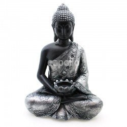 Wholesale Thai Buddha Figurine Black & Silver - Calming Tea Light Holder