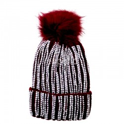 Ladies Pom-Pom Hat with Sequins - Burgundy