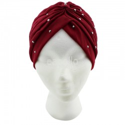Jersey Turban Hat with Sequins - Maroon Red