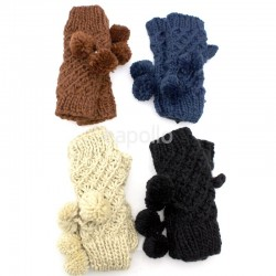 Ladies Knitted Fingerless Gloves - Assorted Colours