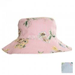 Ladies Pinstripe Floral Cotton Hat - Assorted Colours