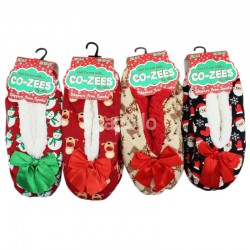 Ladies Co-Zees Christmas Design Sherpa Slippers - Assorted Designs