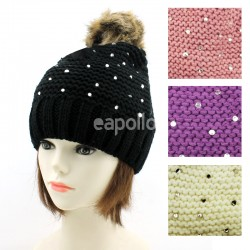 0dd666202ca Ladies  Knitted Pom-Pom Hat With Beads - Assorted Colours