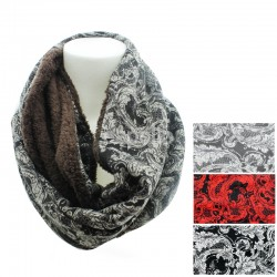 Ladies Paisley Print Snood with Fur - Assorted Colours