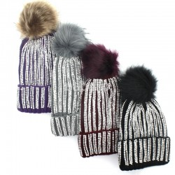 Ladies Pom-Pom Hat with Sequins - Assorted colours