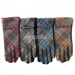 Ladies Tartan Print Winter Fashion Gloves - Assorted Colours