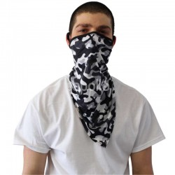Long Breathable Reusable Face Covering- White and Black Camo