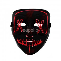 Light Up LED Scary Halloween Riot Mask - Red