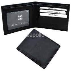Men's RFID Leather Wallet 3 Card Slots - Black