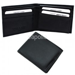 Men's RFID Leather Wallet 6 Card Slots - Black