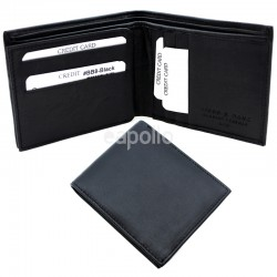 Men's RFID Leather Wallet 9 Card Slots - Black