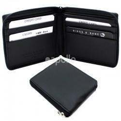 Men's RFID Zip Leather Wallet 6 Card Slots - Black