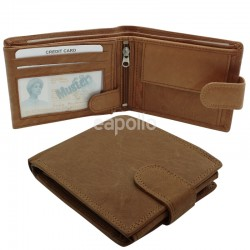 Mens RFID Genuine Leather Wallet with 7 Card Slots - Tan