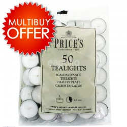 Price's 50 White Tealights Candles 16 Multipack Offer