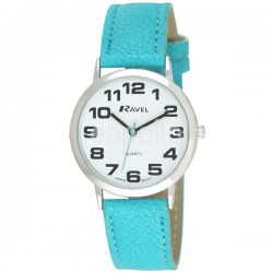 Ravel Ladies Round Polished Watch - Turquoise