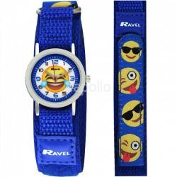 Wholesale Ravel Unisex Velcro Emoji Watch - Blue