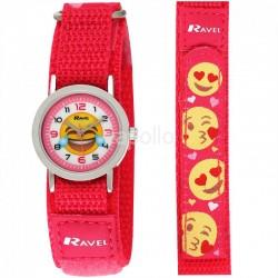 Wholesale Ravel Unisex Velcro Emoji Watch - Pink