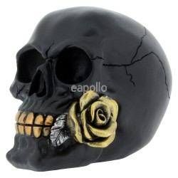 Rose From The Dead Black Skull - 15cm