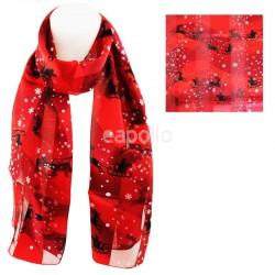 Ladies Christmas Theme Santa Design Scarf - Red