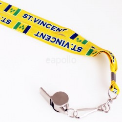 Silver Whistle With Lanyard - St Vincent Flag Design