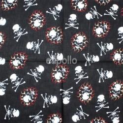 Skulls and Flames Design Black Bandana